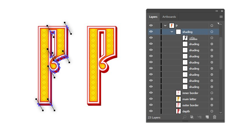 how to mask shading on Russian vector letter