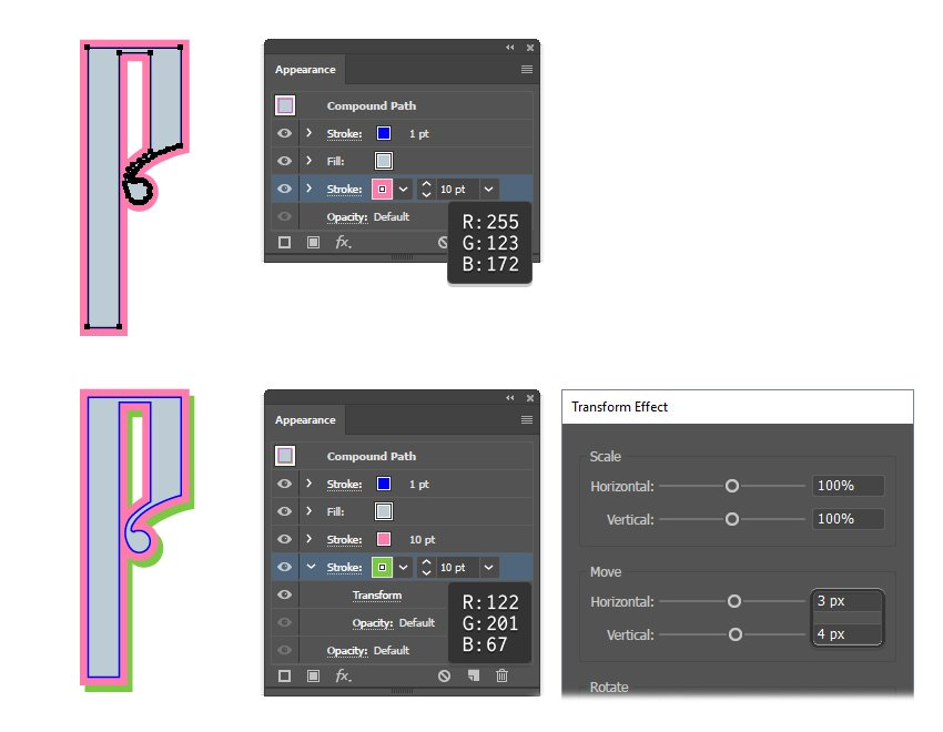 how to create the third and fourth layer of Russian vector letter