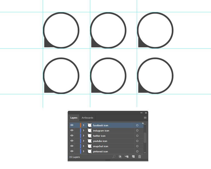 how to arrange the social media icon shapes