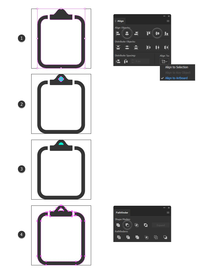 how to create the clip hole for report minimal icon