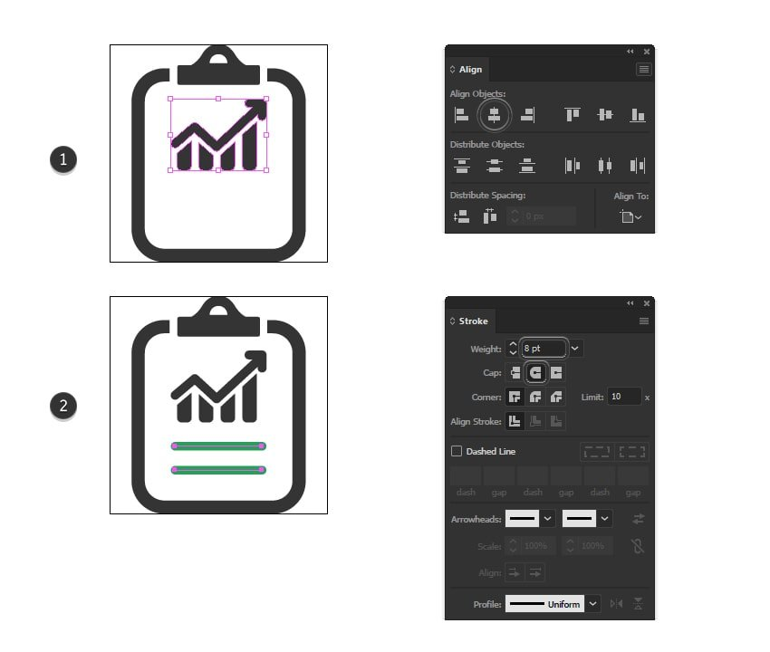 how to create writing minimal icons for report icon