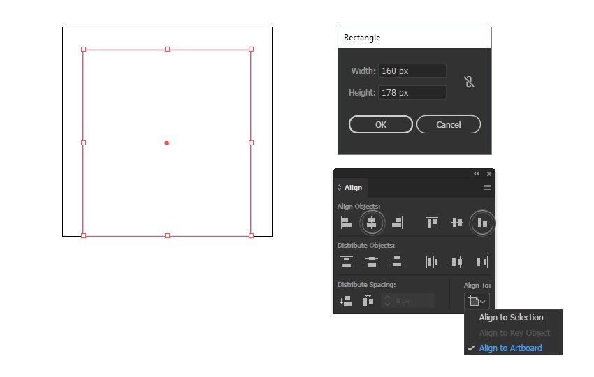 how to create and align the minimal icon to the artboard