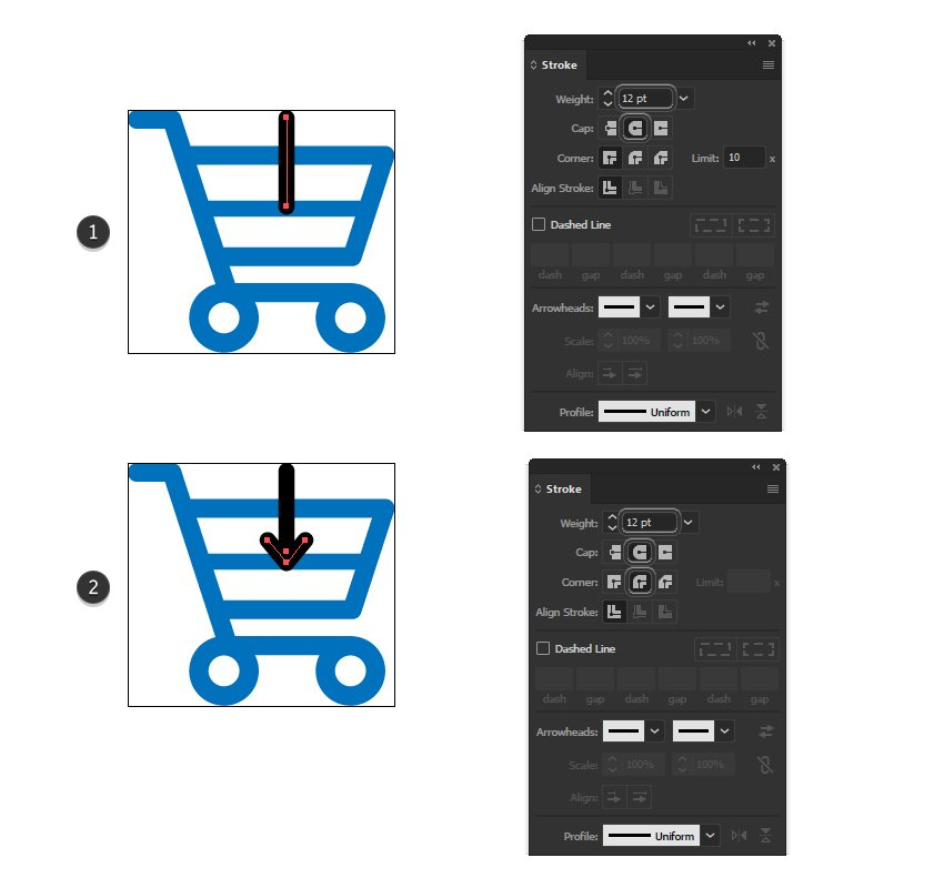 how to create an arrow minimal icon