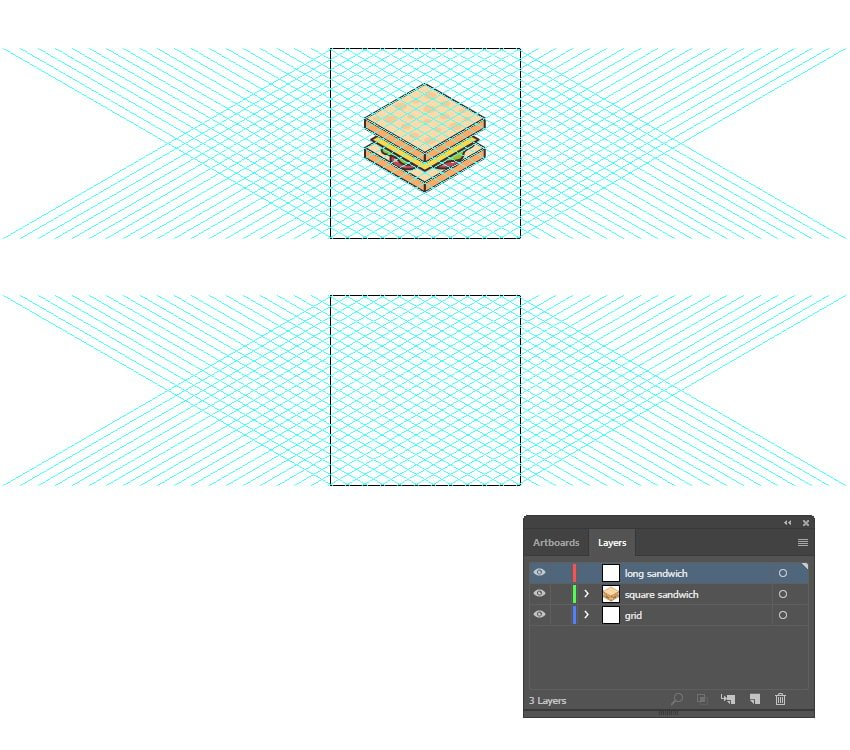 how to create a second artboard for the second isometric food icon