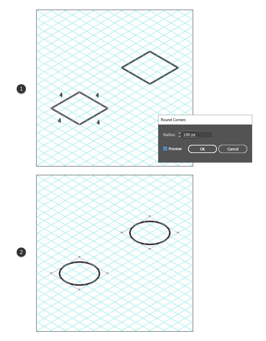 how to draw isometric shapes in Illustrator using the grid