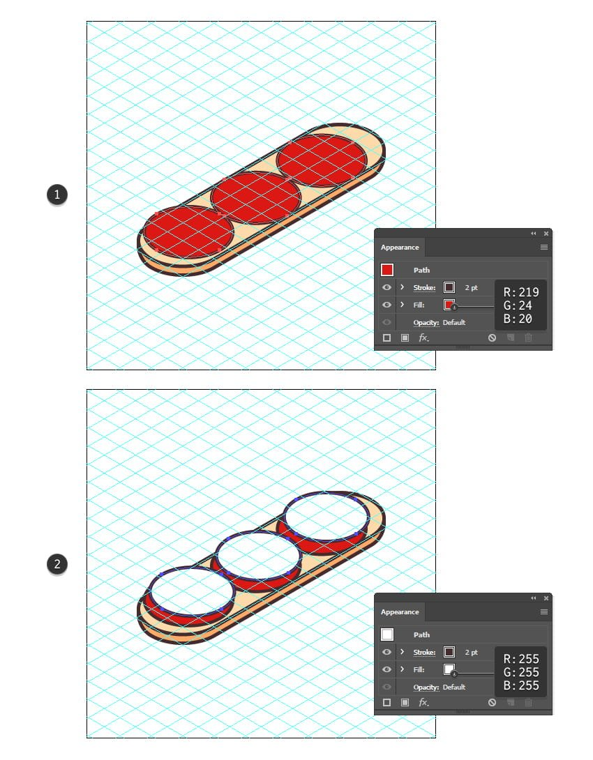 how to create more isometric circles on the sandwich icon