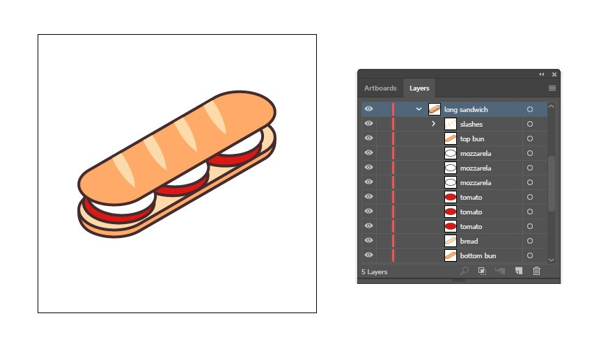final image of the isometric sandwich icon