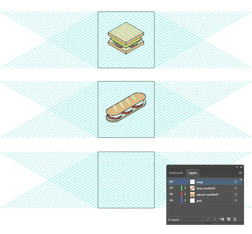 how to create a third artboard for the third isometric food icon