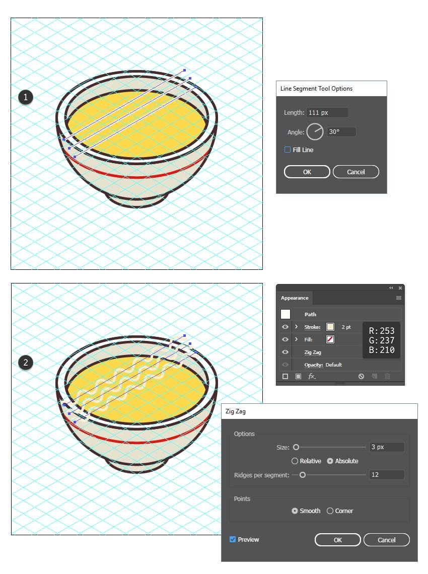 how to create isometric noodle for the soup icon