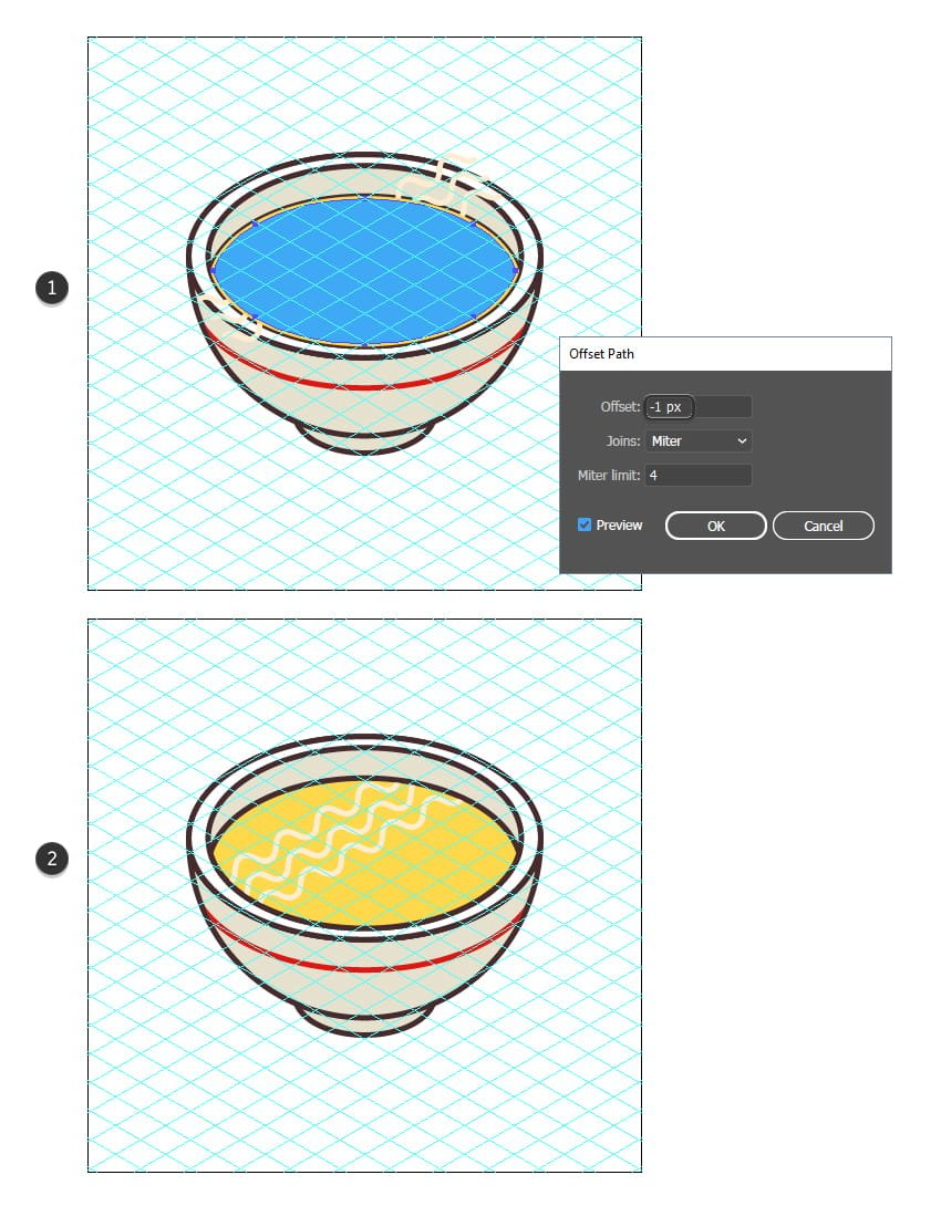 how to mask the isometric noodles for the soup icon