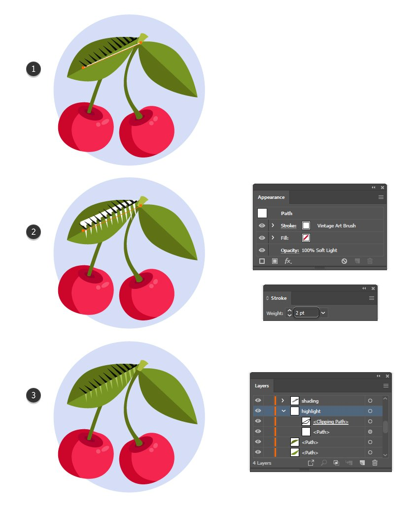 how to highlight a leaf with Illustrator texture brushes
