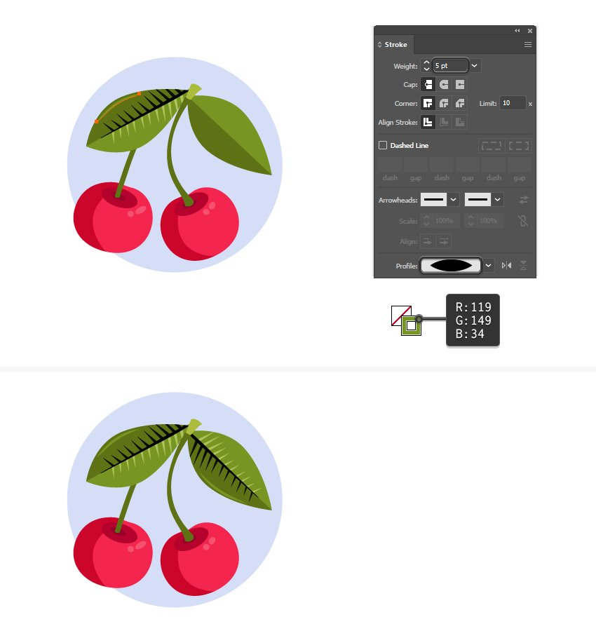 how to add a highlight on a leaf in Adobe Illustrator