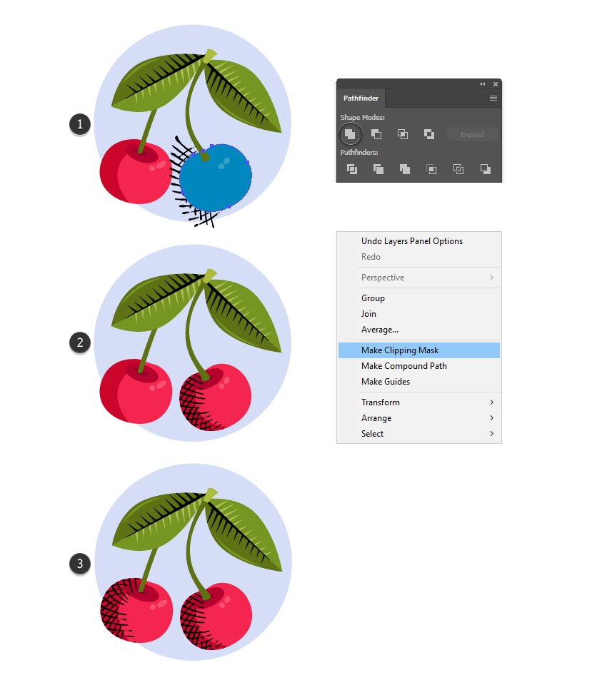 how to mask the crosshatching texture in Adobe Illustrator