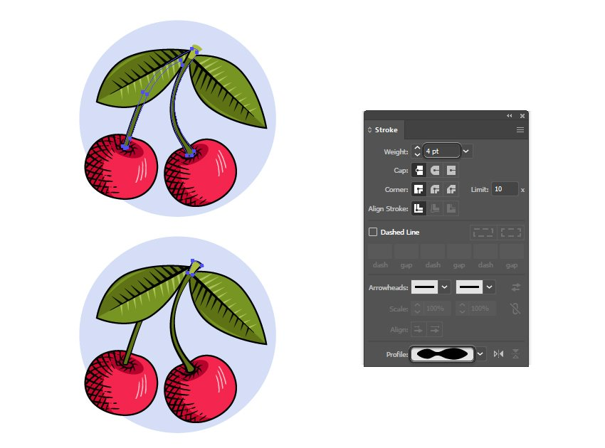 how to use profile strokes to create a vintage look in Illustrator