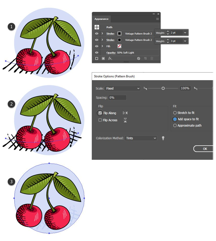 how to create a shadow with Illustrator texture brushes
