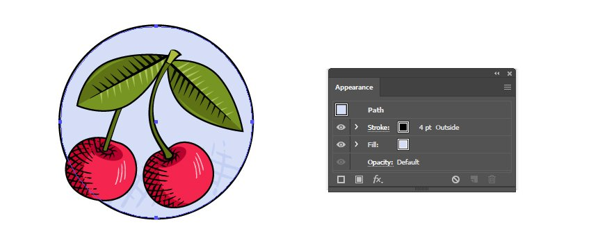 how to finalize the vintage fruit badge in Illustrator