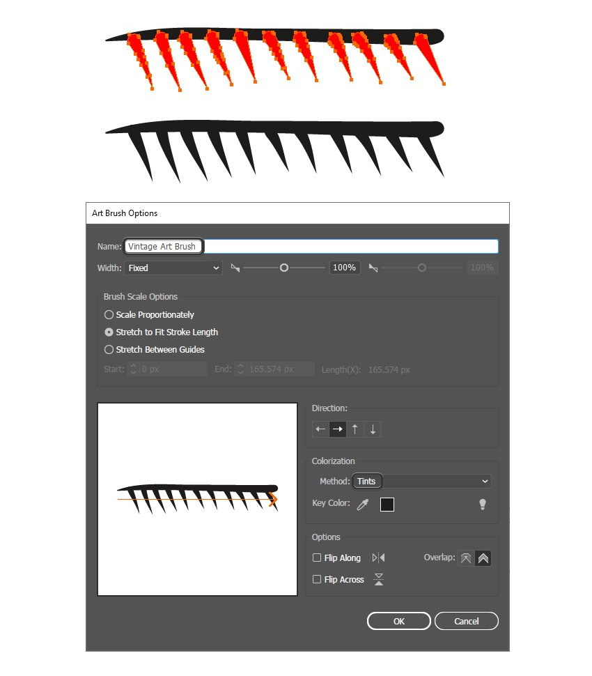 how to save a vintage art brush in Adobe Illustrator