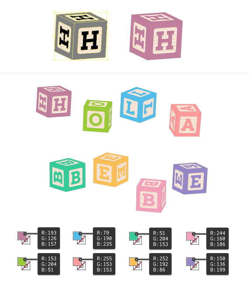 how to color the baby building blocks