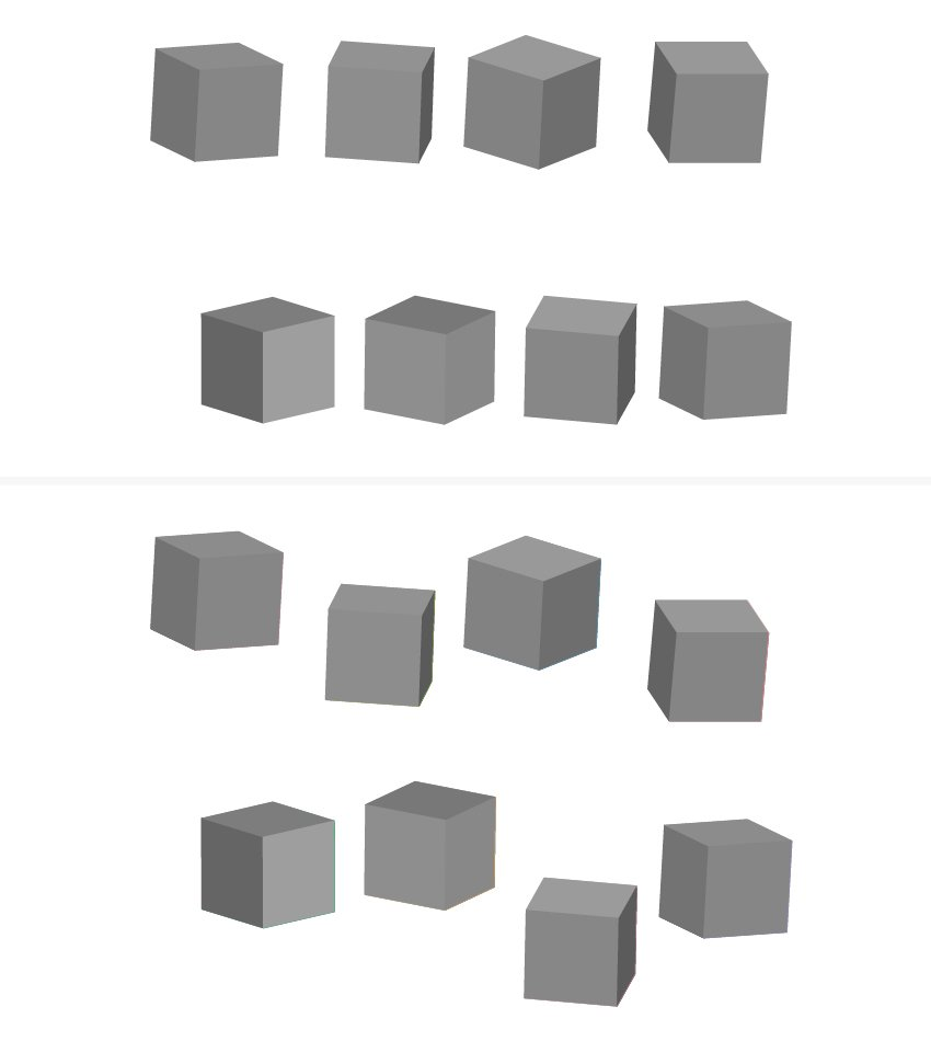 how to arrange the 3D blocks on the artboard