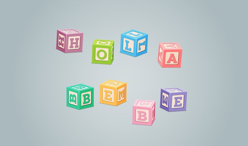 baby letter blocks text effect using block letter font in Illustrator final image