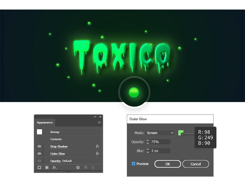 how to create a glow effect around toxic particles