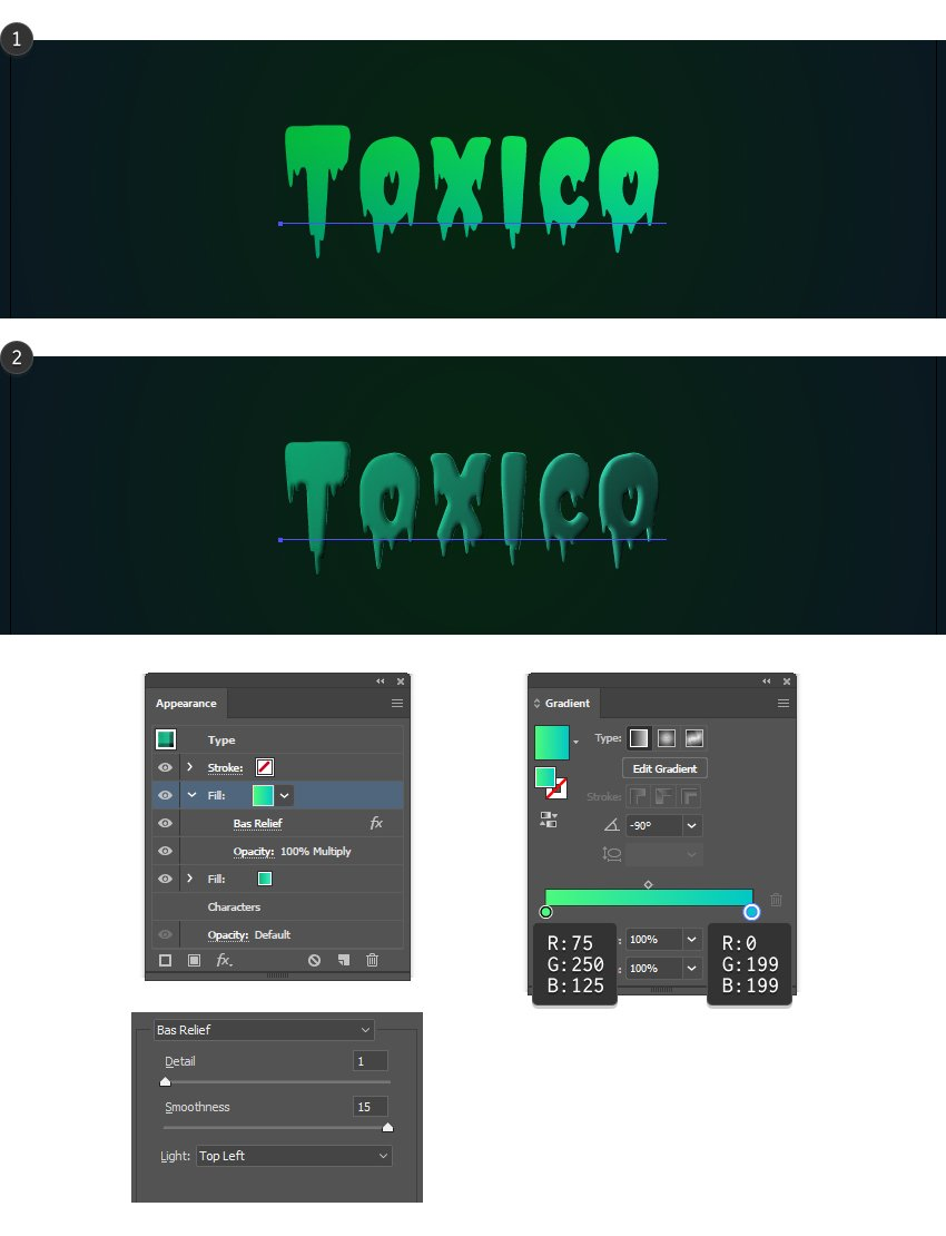how to create another appearance on the text in Illustrator