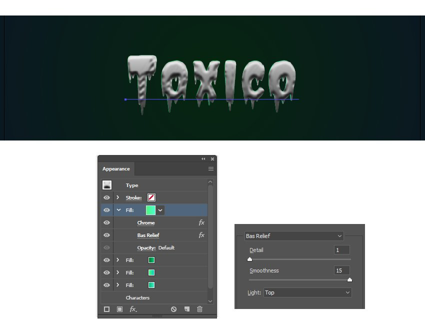how to apply Illustrator effects to create texture on the text