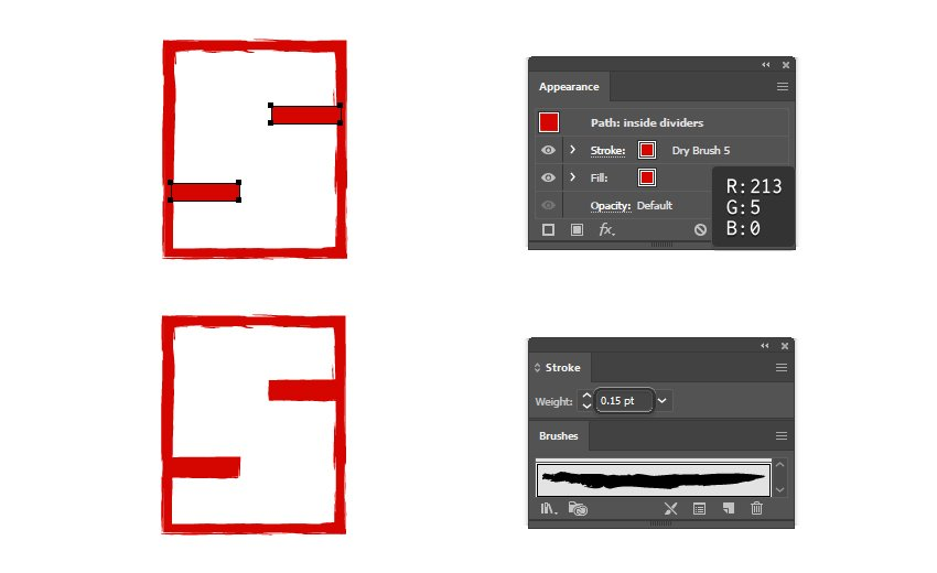 how to create a distressed Hanko stamp look for the letter dividers