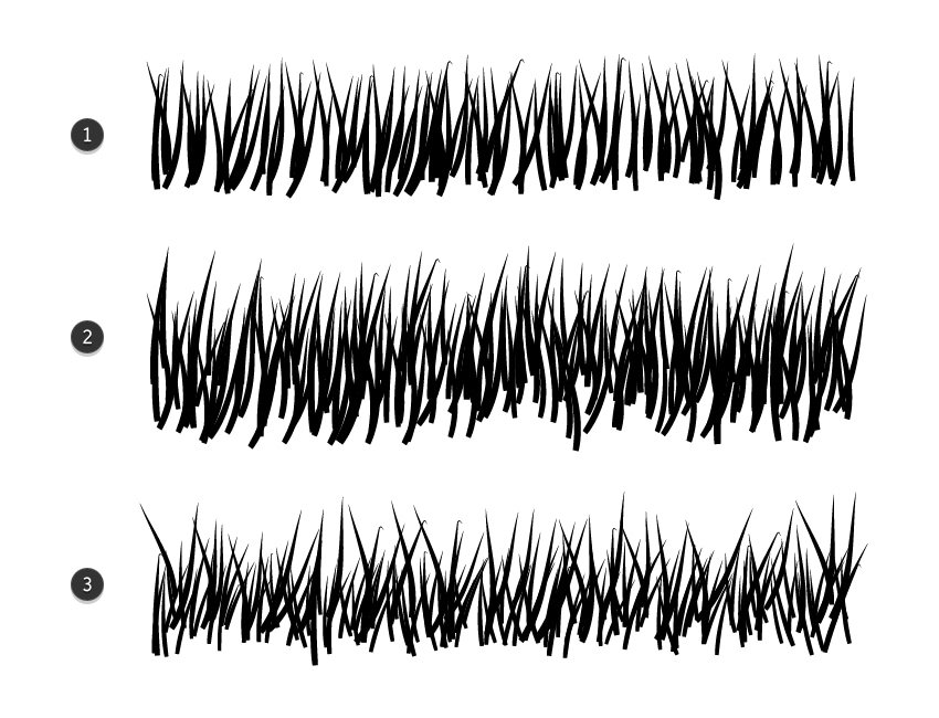 how to use grass brush in illustrator to make medium tall and mixed grass