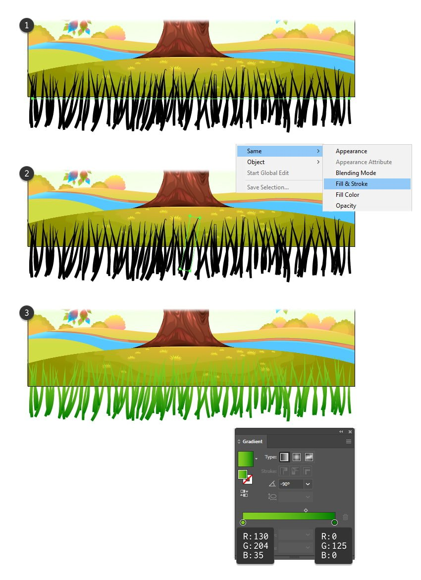 how to create the first row of grass with illustrator brushes