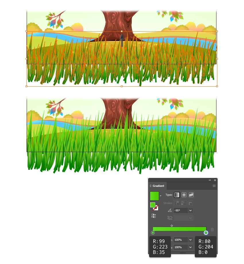 how to multiply the vector grass in illustrator