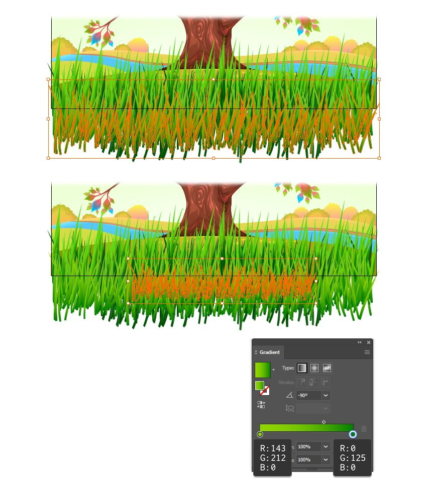 how to create short grass with illustrator brushes