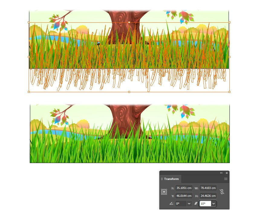 how to create a wind-blown grass in illustrator