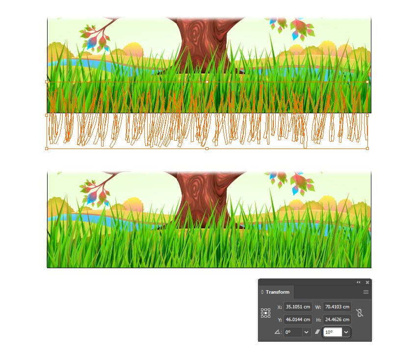 how to make a wind-blown grass in illustrator