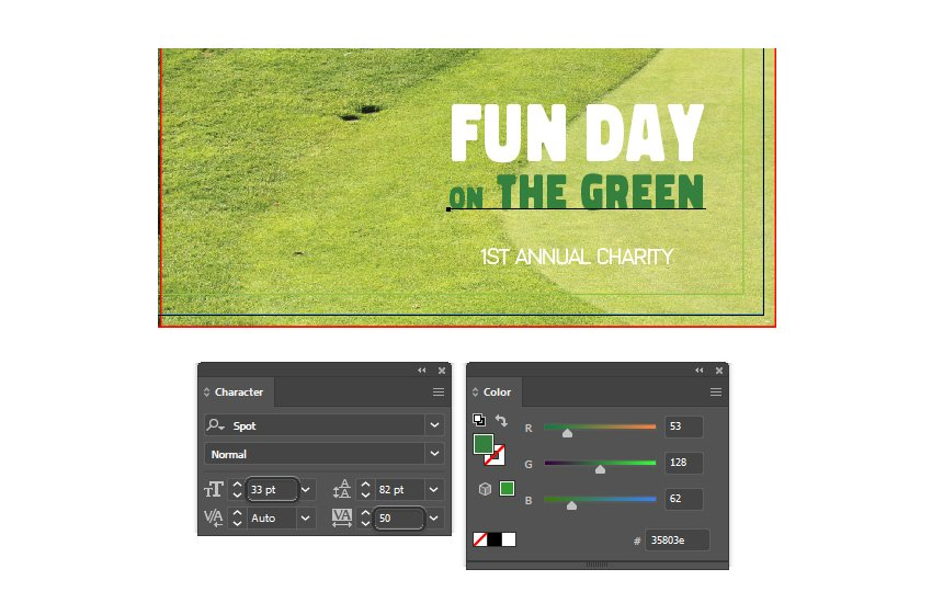 how to type on the green on right front brochure template in illustrator