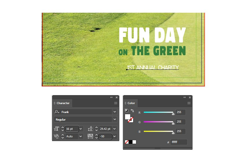 how to type annual charity on right front brochure template in illustrator