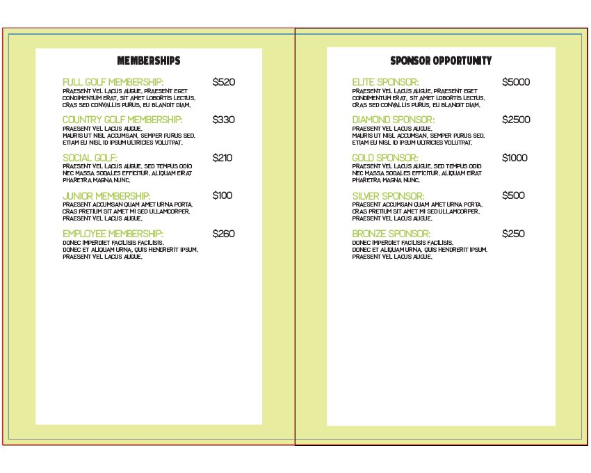 how to add membership info on right inside layout of brochure in illustrator