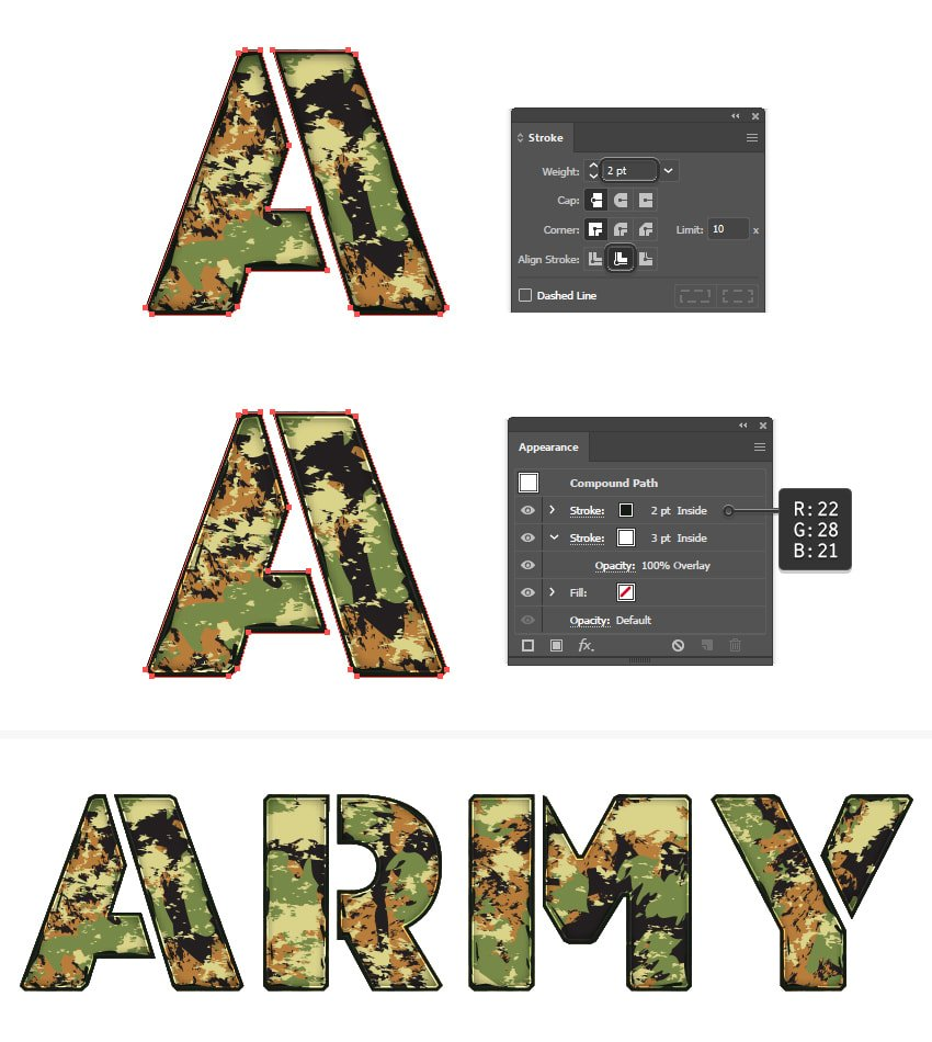how to add strokes on military font in Illustrator