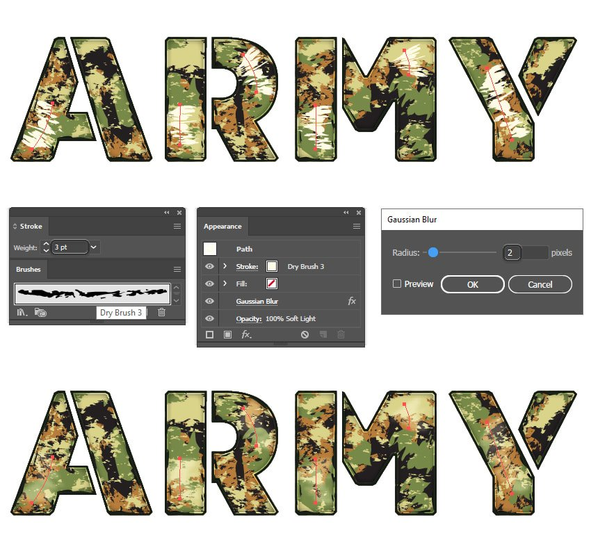 how to create the washed out look on military font in Illustrator