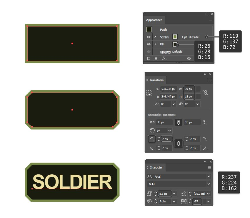 how to create a soldier tag for army text in Illustrator