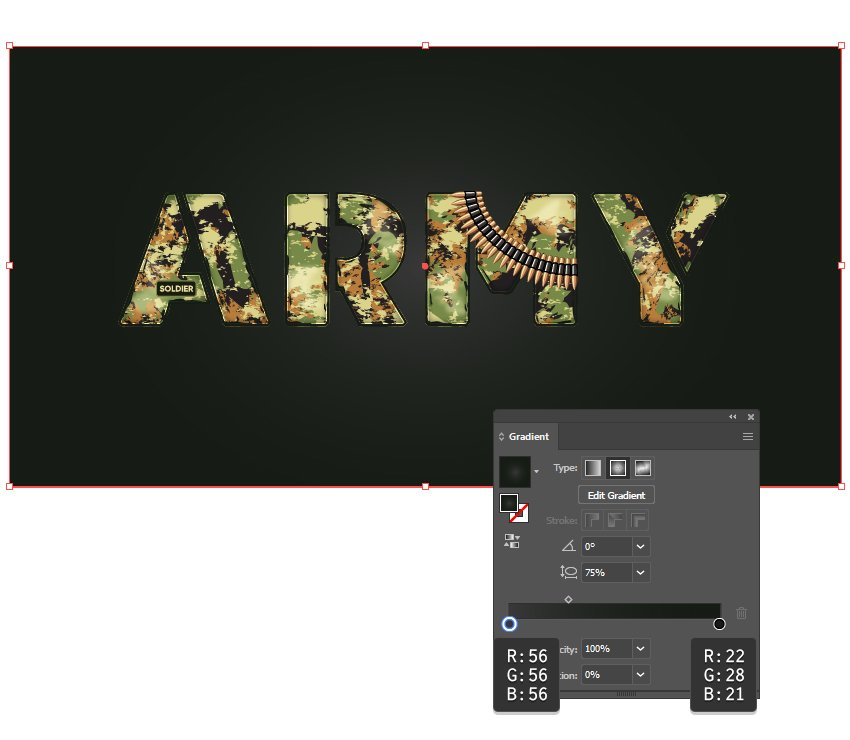 how to create the background behind army stencil font