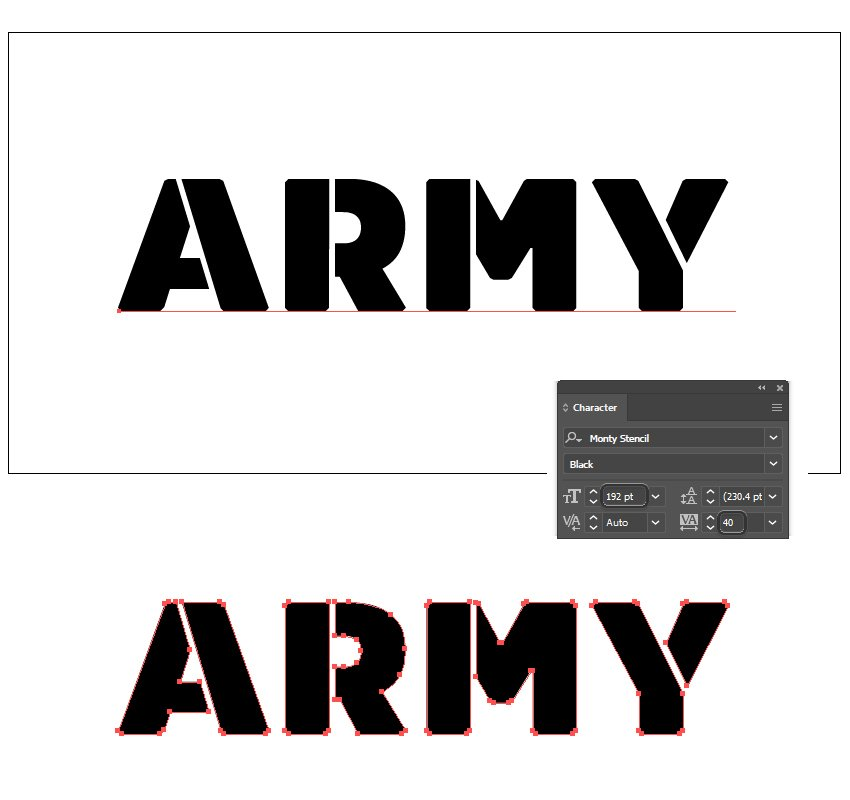 how to set up the military font in Illlustrator