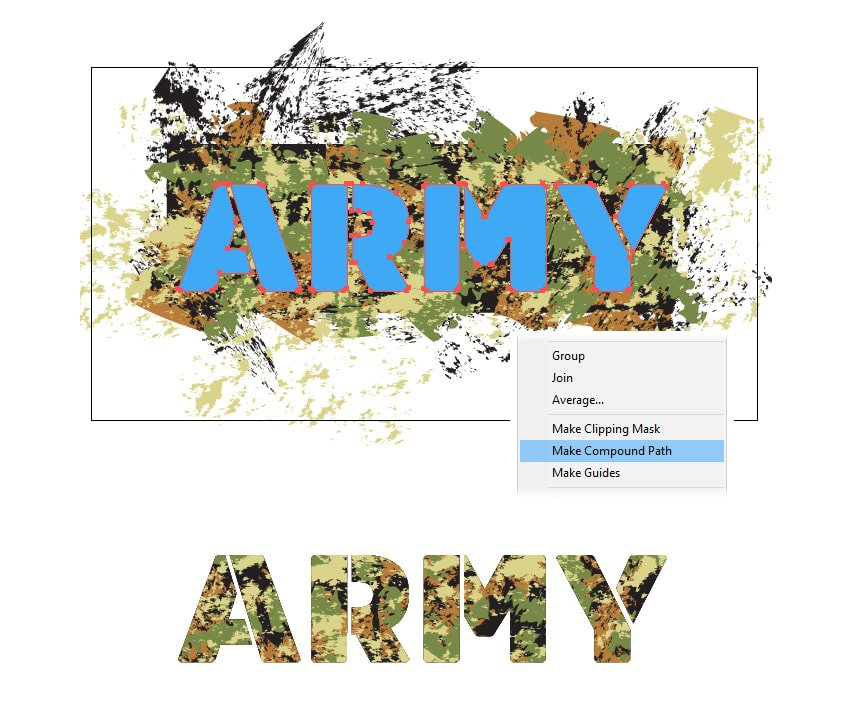 how to mask the camouflage pattern on military stencil font in Illustrator