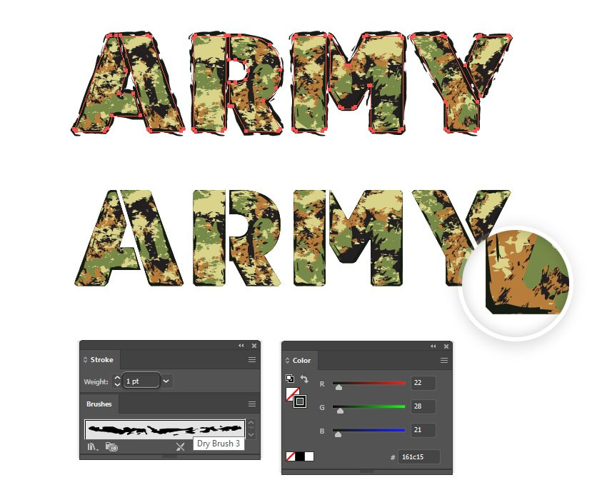 how to create a grunge look for army stencil font in Illustrator