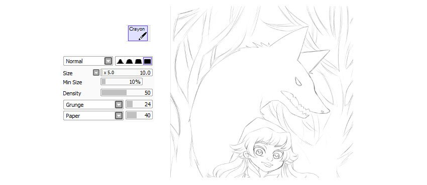 Line art of the background and the wolf