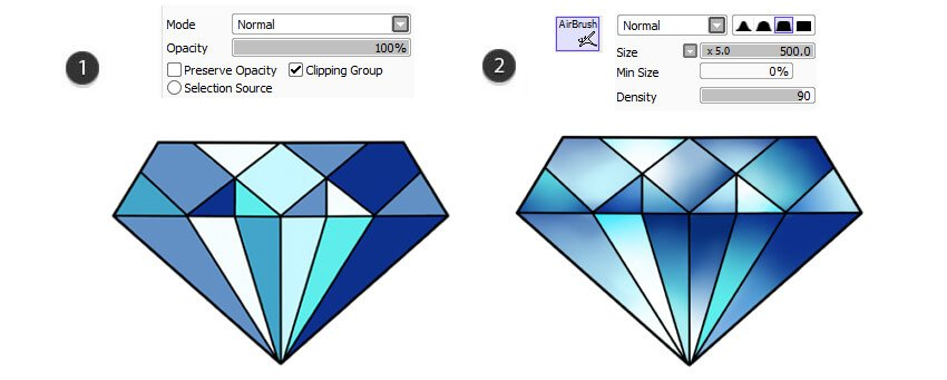 Make separate color layers and gradients