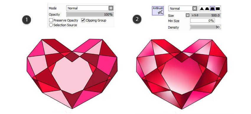 Create separate color layers and gradients