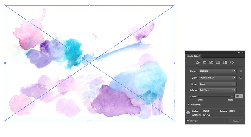 Image Trace to get a vector watercolor texture