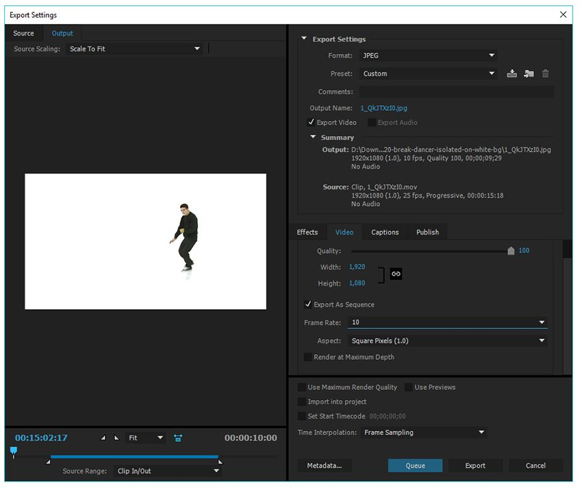 Export your video clip into a series of frames