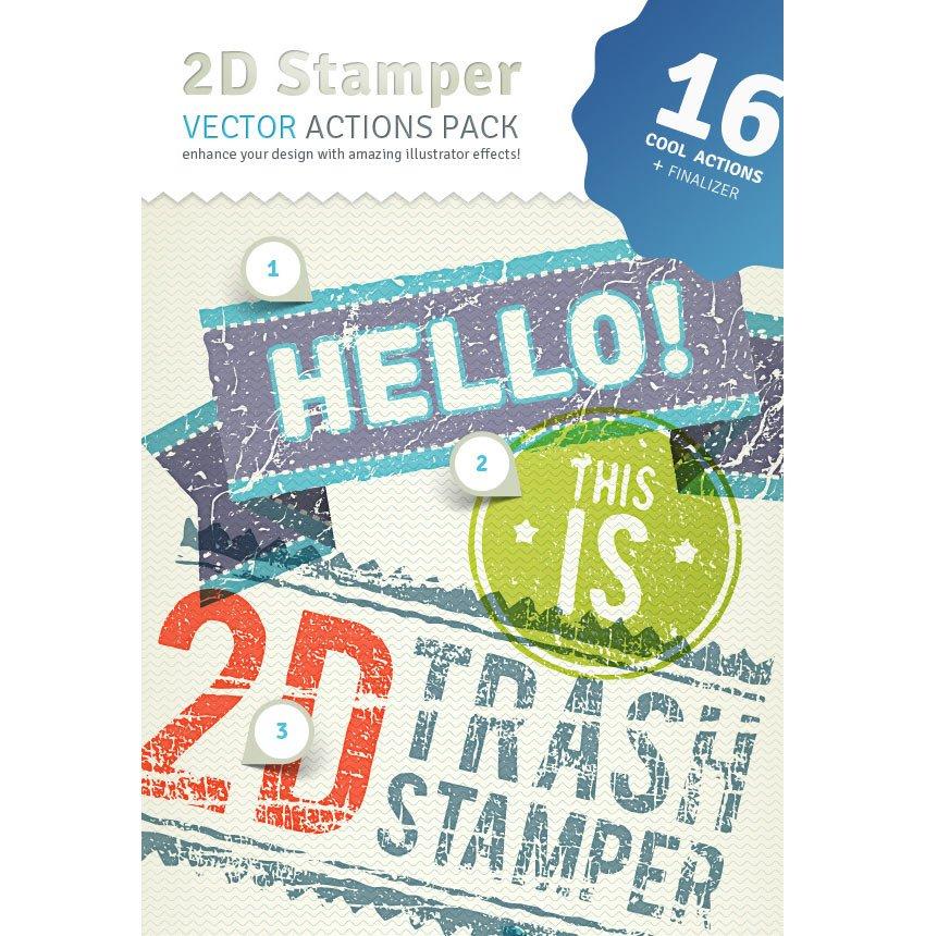 2D Trash Stamper - Vector Actions Pack